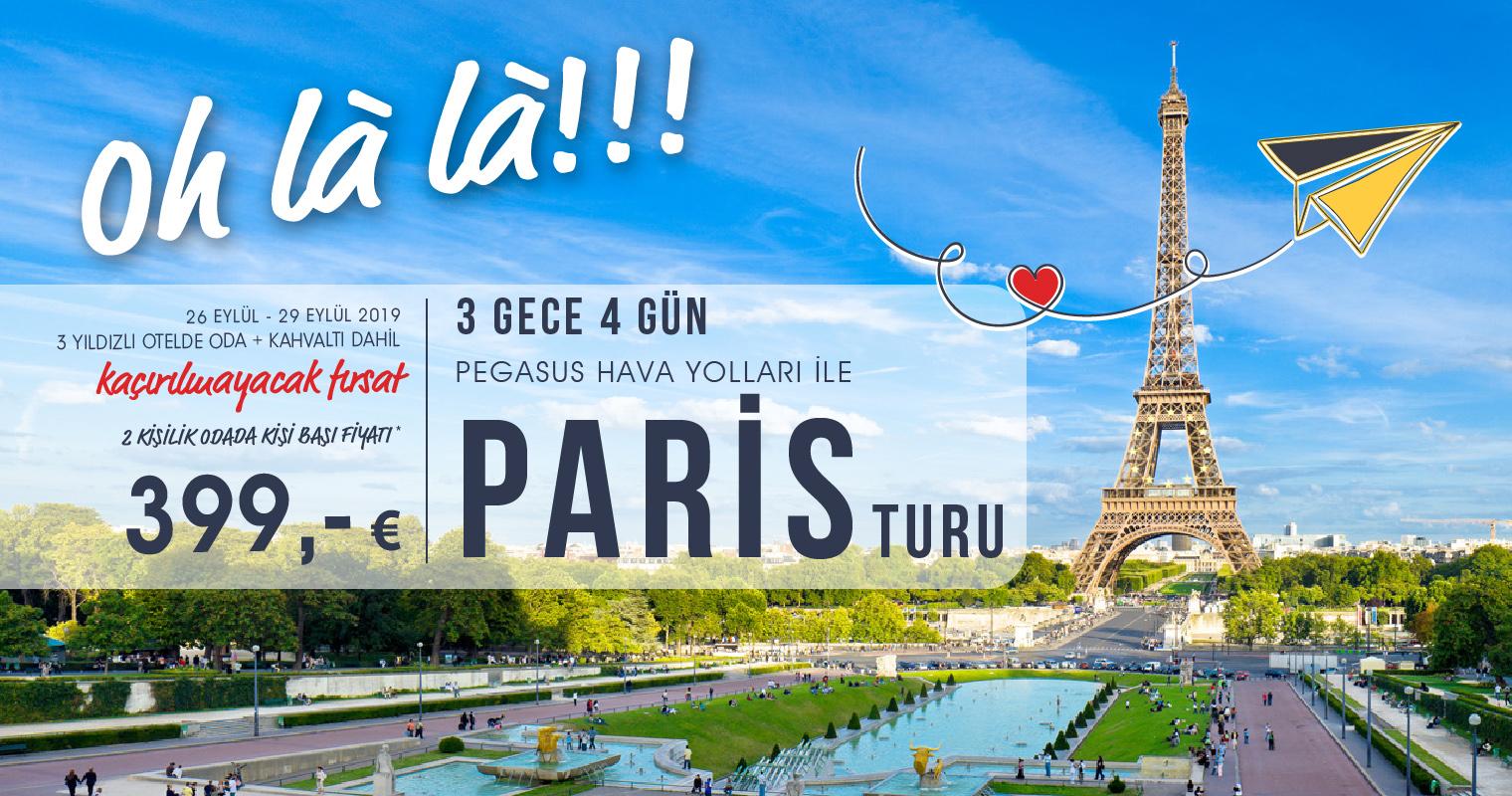 3 Gece 4 Gün Pegasus Hava Yolları ile Paris Turu 399 Euro